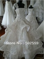 Free shipping AL0001 organza lace  wedding dress OEM