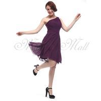 2014 NEW Fashion Women Formal Dress Chiffon One Shoulder Evening Party Prom Purple US 4/6/8/10/12