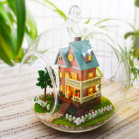 Diy mini handmade model assembling with light assembled wooden model gift light