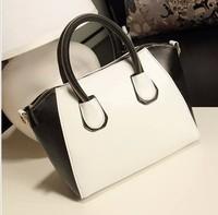 free shipping Bags 2014 smiley bag vintage handbag all-match black and white color block big bag women's handbag