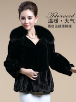 2014 Winter Rex Rabbit Hair Splice Fight Mink Fur Coat Luxury Fox Fur Collar Fold the Skirt Casual Short Jacket Plus Size S-5XL