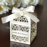 "2014 hot sale 200 pcs of   laser cut  ""filigree""  wedding boxes"