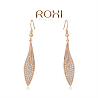 18k rose gold-plated zircon Earrings,Leaf Earring Stud Fashion Jewelry Gift to girlfriend is beautiful,fashionable elegance