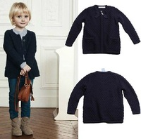 Jacadi female child navy blue zipper 100% cotton cardigan sweater clothing