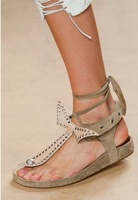 Isabel Marant 2014 genuine leather women sandals lace up ankle strap bowknot studs flat dress shoe wedges