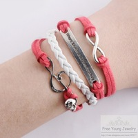 [Free Shipping For 1 Pcs] DIY Hot Happy Skull Multilayer Infinity Bracelet Vintage New Arrival Note Knit Charm Leather Bracelets