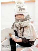 Wool Knitted Baby Hat in Winter Scarf Cap 2 pcs in 1 set Children The Hats & Scarf Set Baby for Children accessories MZ-0619