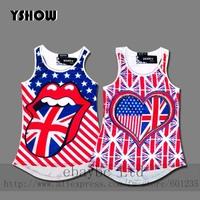 2014 new women's vest plus nail drill flag T-shirt large wholesale