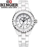 2014 brand fashion Binger accusative case watch ceramic dress diamonds white ladies watch women's watch lovers watch rhinestone