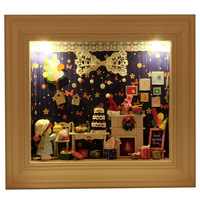 Diy photo frame handmade mini model diy assembling model photo frame light  Creat DIY