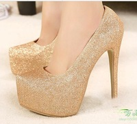 New 2014 Spring Women's High heel Shoes silver   wedding shoes Platform Stiletto Thin Heels 15CM woman''s Pumps big size 35-44
