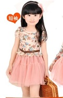 2014 new summer dress children outerwear kids dresses for girls kids clothes clothing short-sleeve dress child girl dress