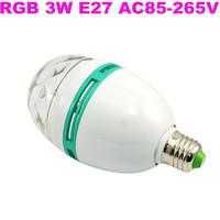 100PCS RGB Full Color 3W E27 LED Bulb Crystal Auto Rotating Stage Effect DJ Lamp Light Bulb Stage Lighting Free Shipping