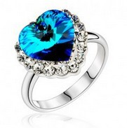 Luxury genuine 925 sterling silver sapphire topaz wedding engagement ring with diamond 4018