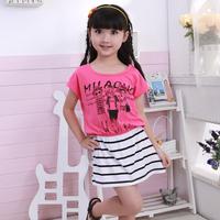 2014 summer kids dresses for girls kids girls clothes child stripe short-sleeve 100% cotton child one-piece dress girl dress