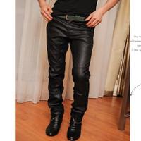 Men's Pants Slim Fashion Korean Style Leather Spliced Long Pants Free Shipping Wholesale MKX139
