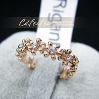 fashion flower women gold ring, - 19
