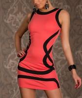 stripes sexy party women dresses polyester O-neck 2014 bandage evening dress clubwear sexy lady vestido  uwc098
