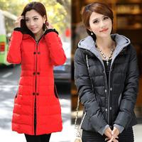 Women's medium-long slim wadded jacket outerwear