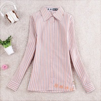Women spring and autumn classic vertical stripe 100% cotton long-sleeve shirt