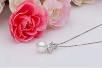 Hot Sale Jewellry Set Bowknot Design Genuine Freshwater Pearls Pendant Silver Sterling Necklace Pearl Earing Freeshipping