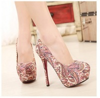 2014 New Spring Embroider Pumps Women Thin High Heels Shoes Women Wedding Shoes