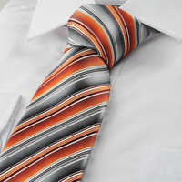 New Striped Orange Grey Mens Tie Suit Necktie Party Wedding Holiday Gift KT1068 D389