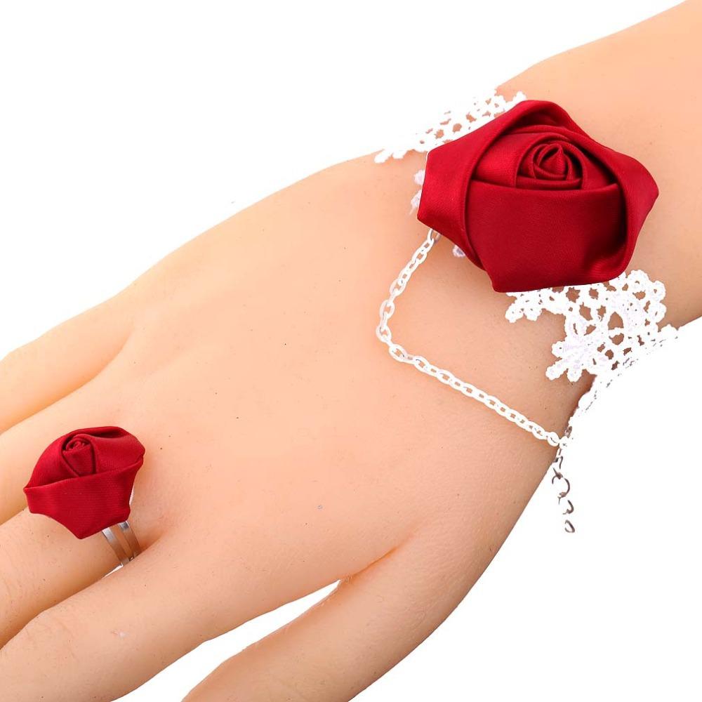 Elegant Jewelry White Lace Red Rose Flower Bangle Chain Design Bracelet Set(China (Mainland))