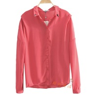 Women summer chiffon shirt long-sleeve pullover shirt breasted cardigan