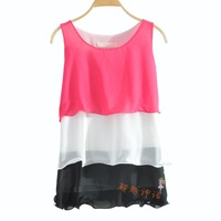 women's three-color chiffon layered dress vest chiffon shirt