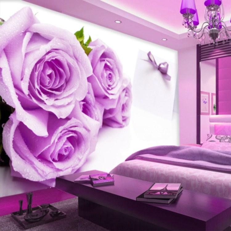 Luxury Mural Wallpaper Tv Sofa Background Fresco Wallpaper Purple Rose Flower Personalized