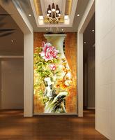 Luxury 3d European Oil Painting Embossed wall panels mural flower/flora wallpaper entranceway room papel de parede personalized