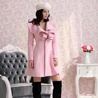 New arrival Y195 autumn-winter women's wool coat fashion blends falbala loog warm tweed wind coat wholesale retail FREE SHIPPING