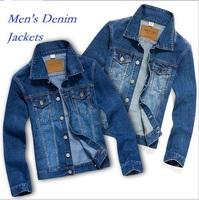 New Design Men's Outerwear & Coats Korean Fashion Slim Fit Denim Jackets Cotton Winter Jackets Plus Size XXXL 3XL Blue Color