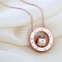Luxury brand Rose gold titanium steel necklace rhinestone crystal pendant short chain choker necklace women jewelry acessories