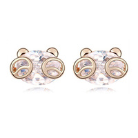 Cubic Zircon Stud Earrings  Luxury Bride Fashion CZ Diamond Accessories Charm Jewelry For Women 18K Gold Plated Classic