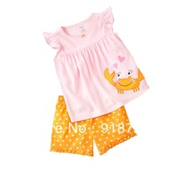 2014 newest baby infant summer children girls short sleeve t-shirt pants clothing suit set fashion cotton knitted 12M-5T crab
