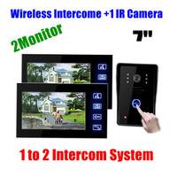 """7"""" 1 to 2 Wireless touch Video Door Phone Doorbell Intercom monitor with IR outdoor waterooof Camera"""