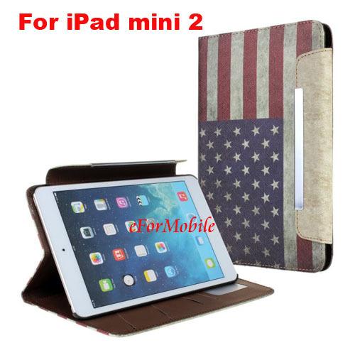 2013 NEW Slim Tablet Case Leather Case USA Flag Case UK Flag Case for Apple iPad mini 2(China (Mainland))