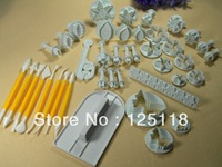 factory retail 41pcs mixed fondant plunger cutters and tools for fondant cake decoration