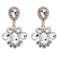 2014 New Design Women Fashion Jewelry Gold Water Drop White Crystal Resin Bead Charm Dangle Earrings Wholesale Free Ship#102160