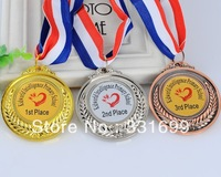 school medal set gold silver bronze medallion brass plated for kindergarten primary kids children with ribbon and custom content