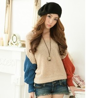 V-neck Batwing Sleeve Color Block Decoration Thick Yarn Pullover Sweater Autumn With A Hood Sweater