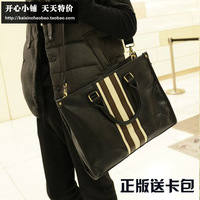 Accidnetal 2013 fashion handbag stripe color block vintage man bag commercial casual shoulder bag briefcase