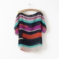 L0437, free shipping fashion Women Striped chiffon blouse Multi-colour print shirts Loose Short Sleeve casual plus tops S-XXXL