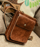 2014 small leather bag male shoulder bag messenger bag preppy style satanisms vintage man bag