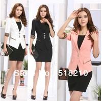 2014 Newest Spring Women's Formal Blazer Coat Tops Professional Business Women Work Wear Blazer Jacket Outwear Plus Size XXXL