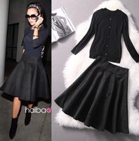 2014 spring and summer fashion black long-sleeve wool cardigan and pleated skirt suits