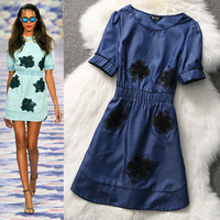 2014 spring and summer fashion women's star ruslana korshunova embroidery denim cute dress