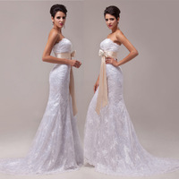 In-Stock Free Shipping Cheap Price White A-line Luxury Mermaid Bridal Wedding Dress/Gowns 2013 New Fashion CL6029